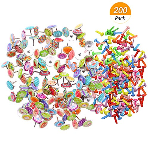 (Meetory 100Pcs Colorful Decorative Steel Push Pins for Photos Wall, Corkboard, Maps and 100Pcs Mini Brads, Metal Brad Fastener for Paper Scrapbooking Crafts, Random Colors )