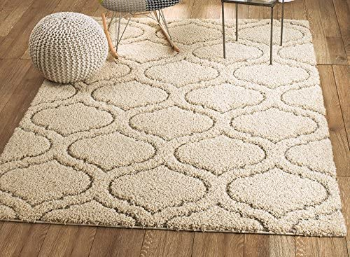 Lorena Shag Collection Cream Moroccan Trellis Shaggy Area Rug
