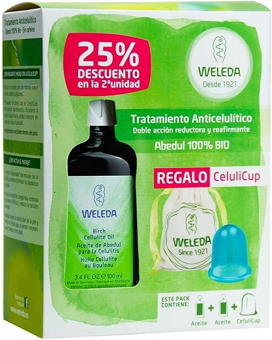 Weleda - Pack Tratamiento Anticelulítico - Doble pack aceite anticelulítico abedul + Celuli Cup: Amazon.es: Belleza