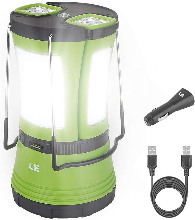 REEXBON Outdoor LED Camping Lantern avec USB Rechargeable Banque de puissance 6000mAh lampe de camping /à tente suspendue gradation en continu pour les voyages en tente de camping