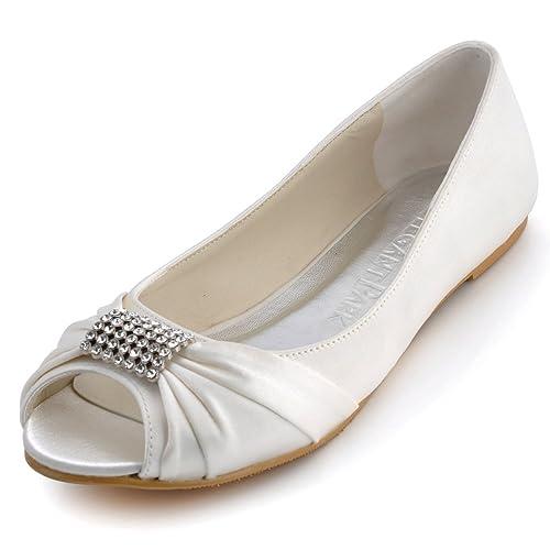 e6226a02e550a Elegantpark EP2053 Women Peep Toe Rhinestones Comfort Flats Pleated Satin Wedding  Bridal Shoes Ivory US 11. Roll over image to ...
