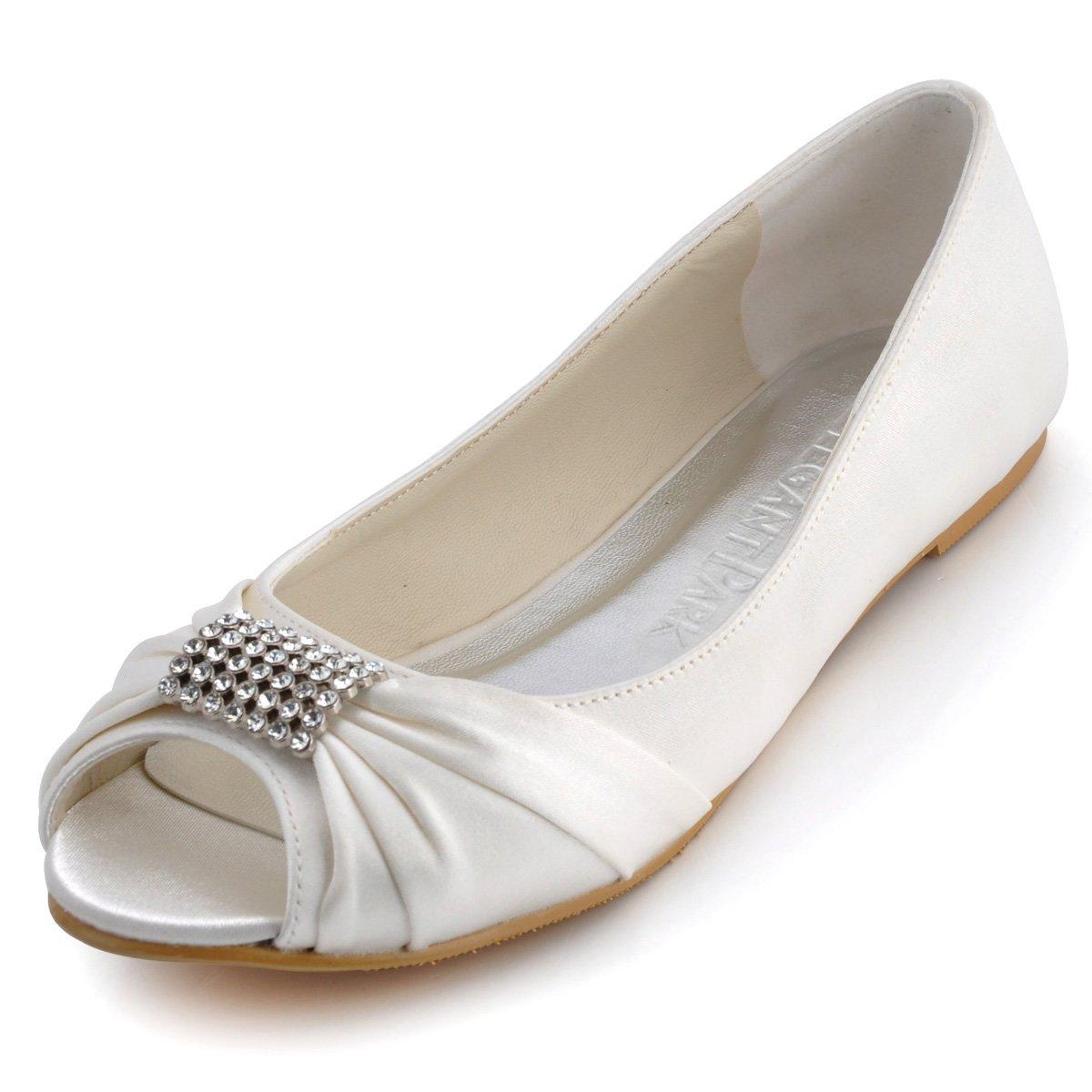 ElegantPark EP2053 Women Peep Toe Rhinestones Comfort Flats Pleated Satin Wedding Bridal Shoes Ivory US 11