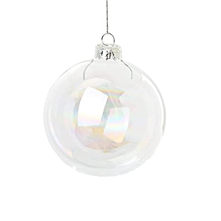 12 x iridescent round glass christmas tree baubles spheres ornaments decoration 6cm