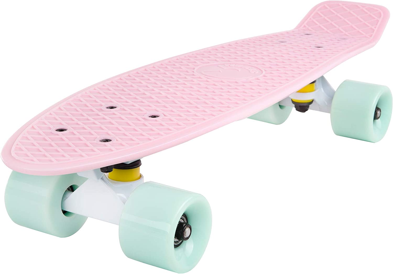 LBWNB Skateboarding 22-inch Complete Mini Cruiser Skateboard,uitable for Boys Retro MiniSkateboardPP Soft Board Surface Beginner Skateboard outdoors Girls and Teenagers