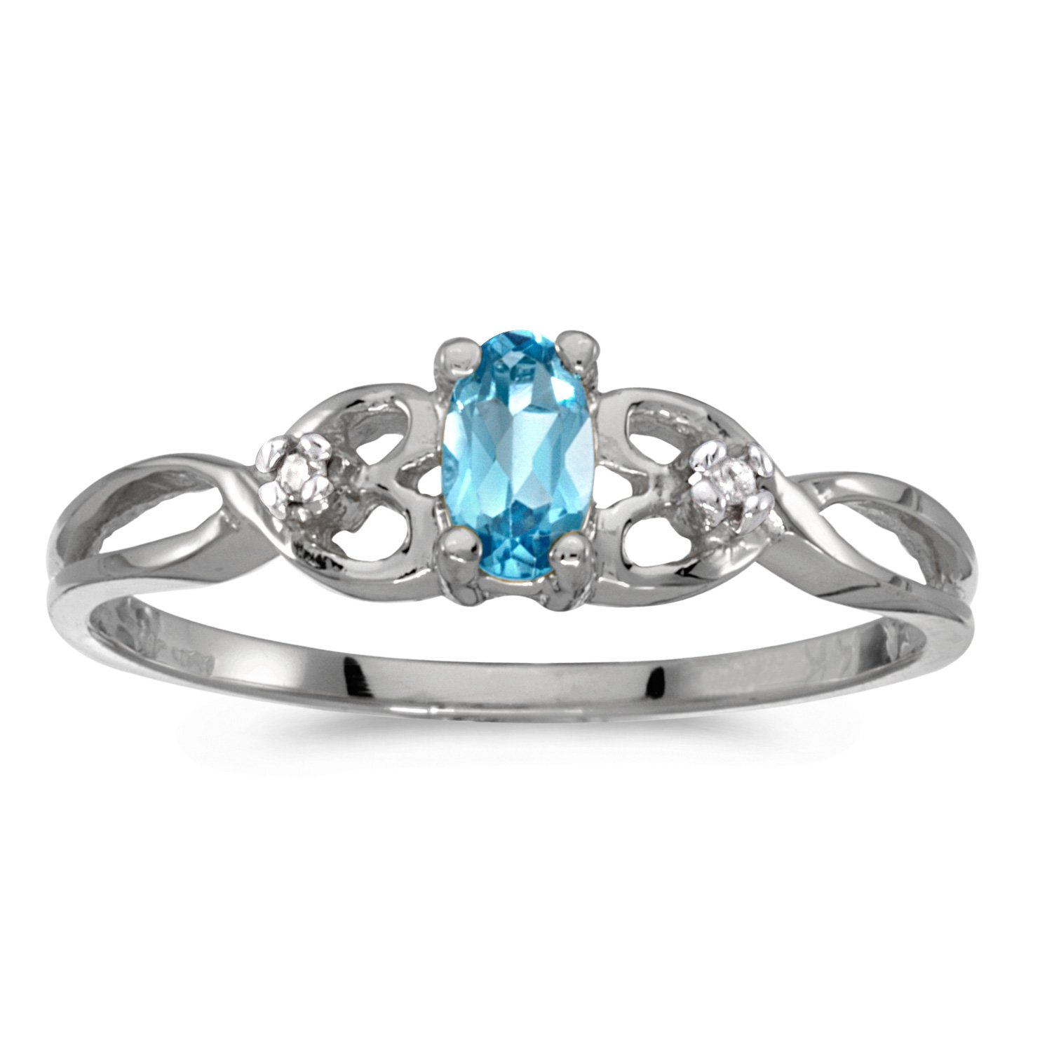 0.21 Carat ctw 14k Gold Oval Blue Topaz & Diamond Infinity Twisting Heart Shaped Promise Fashion Ring - White-gold, Size 11