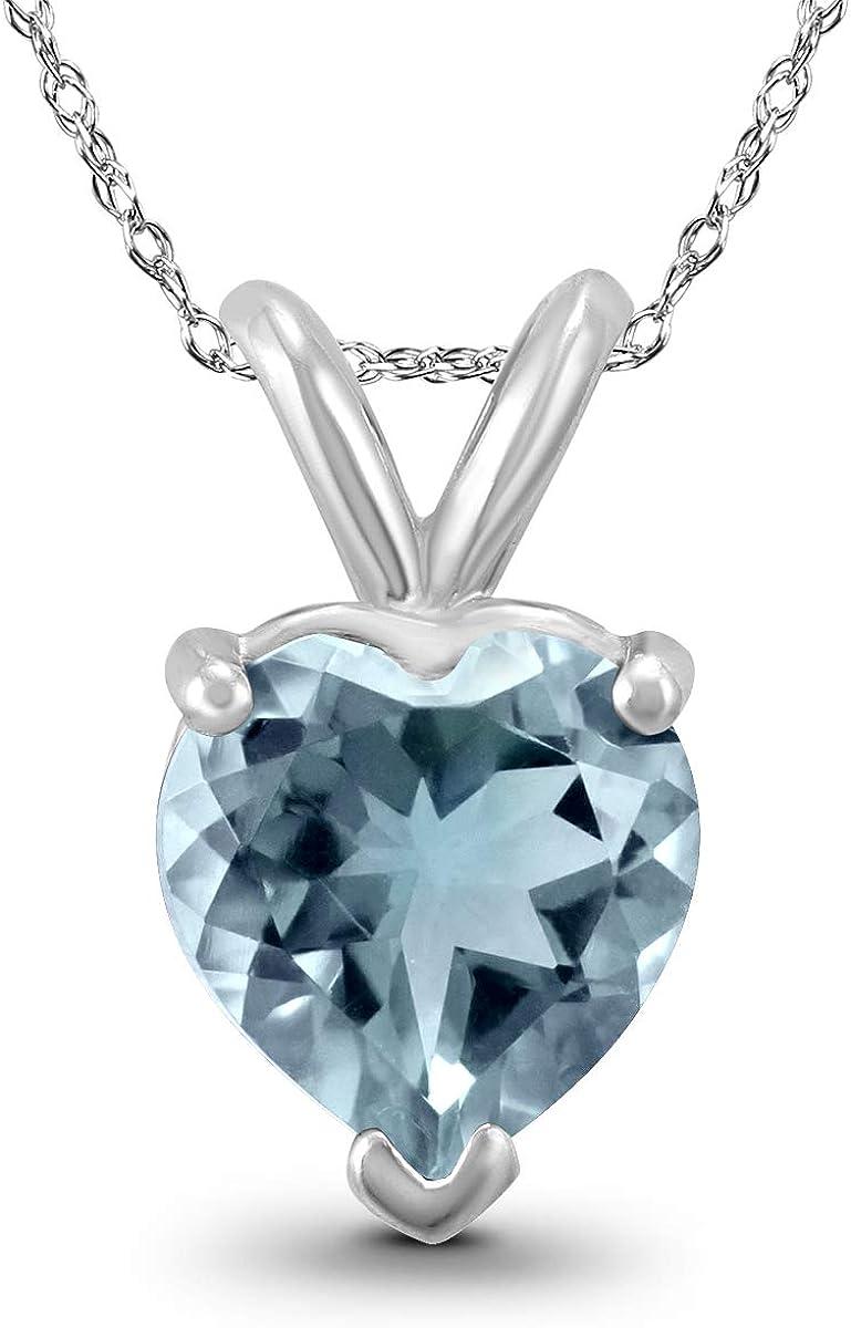14 kt White Gold Heart Shape 0.75 ct Aquamarine Pendant