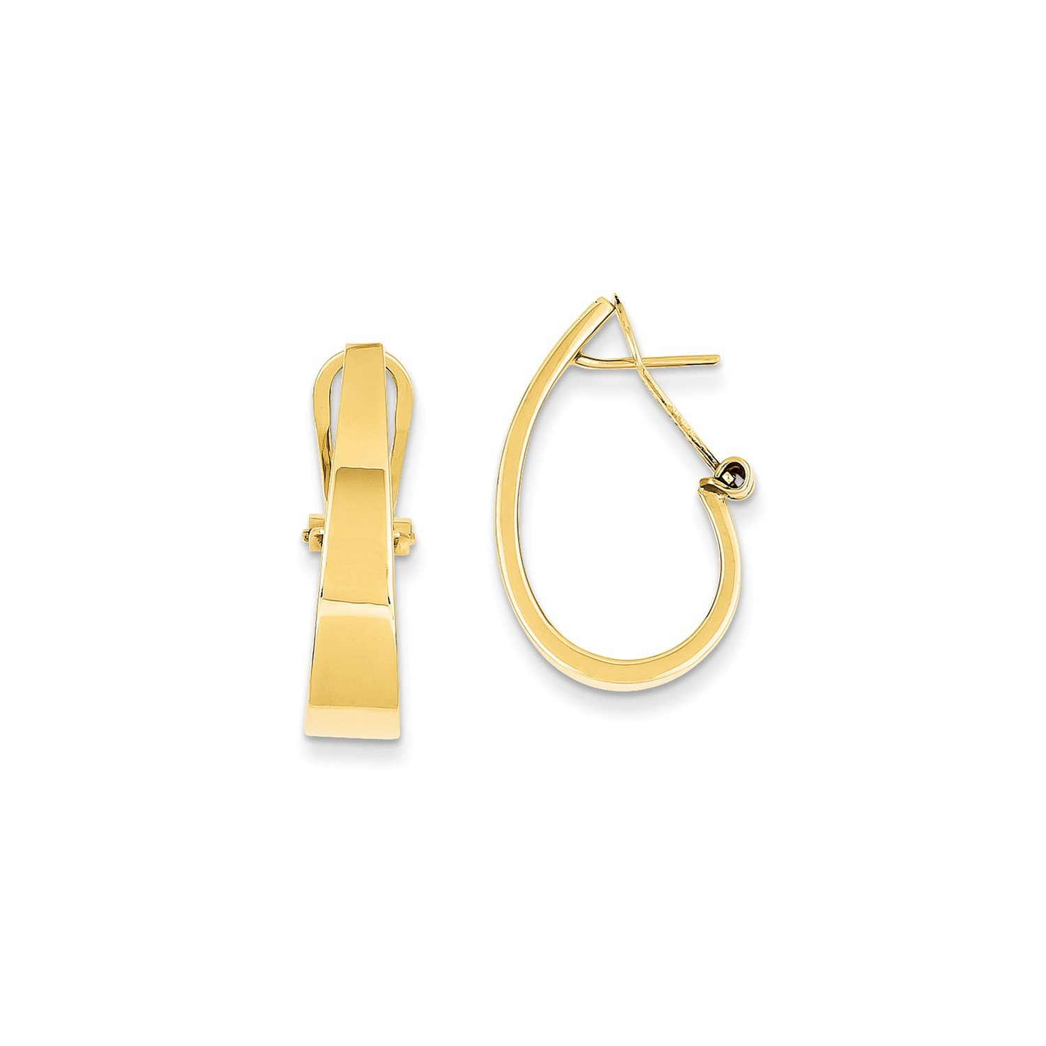 Roy Rose Jewelry 14K Yellow Gold Polished J-Hoop Click-in Back Post Earrings