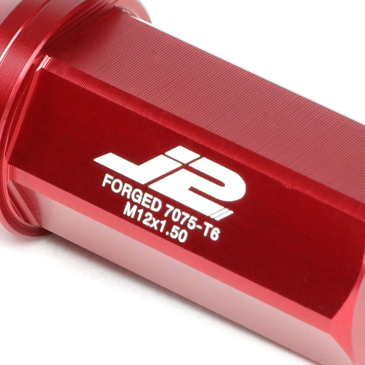 J2 Engineering LN-T7-005-15-BK Black 7075 Aluminum M12x1.5 20Pcs L 50mm Close-End Lug Nuts w//Adapter