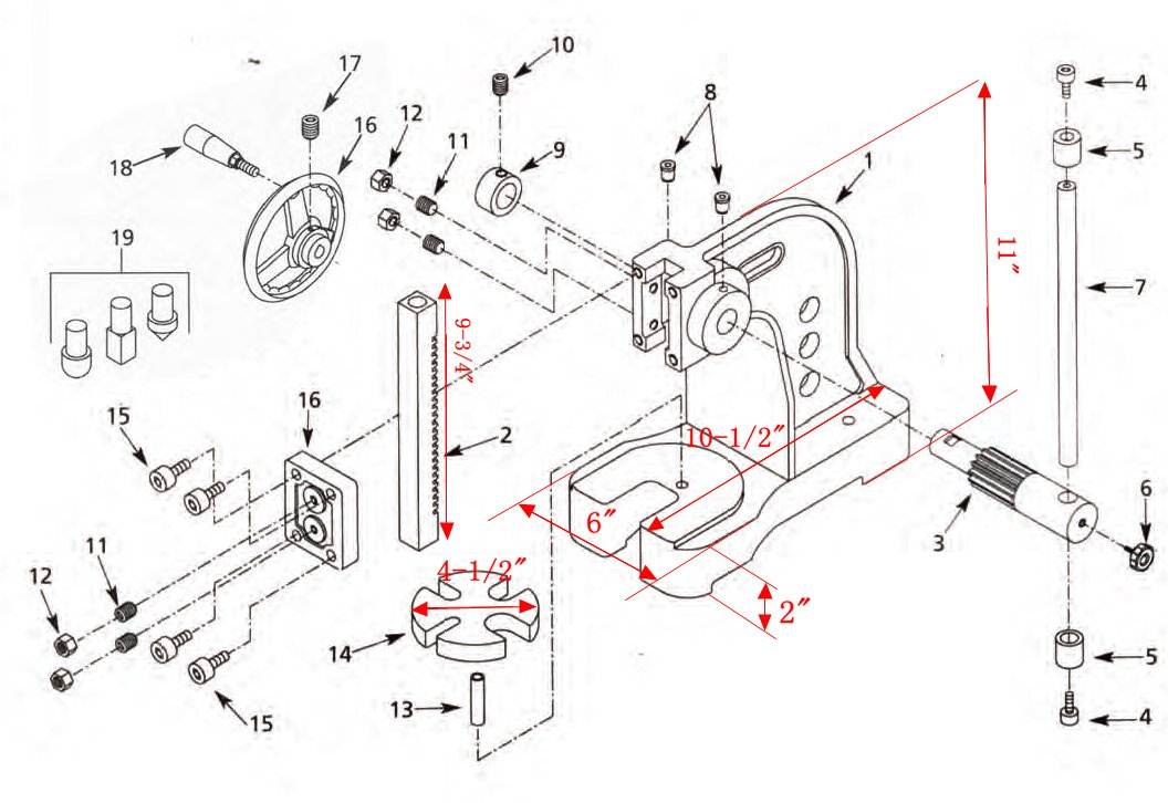 Hhip 8600 0131 Pro Series Cast Iron Arbor Press 1 Ton Capacity 14