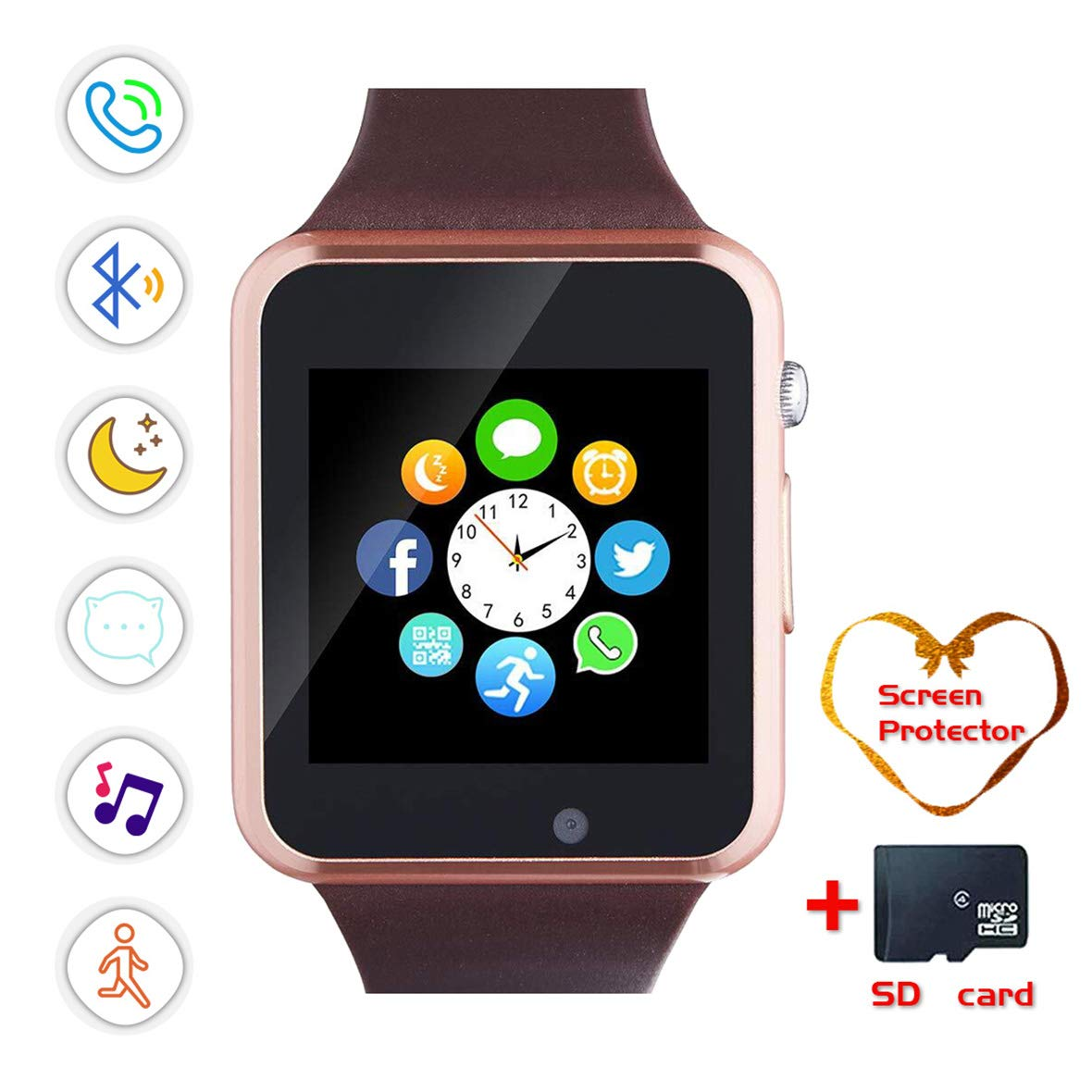 Smartwatch, Bluetooth Smart Watch and Cell Phone Watch with Card SIot Bluetooth CallCameraMusic Player Watch Compatible for Android and iOS Phones Women and Men