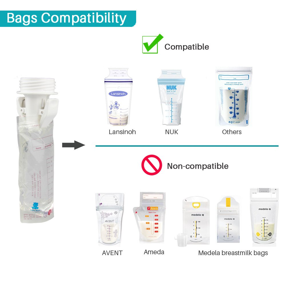 Breastmilk Storage Bag Adapters for Spectra S1 S2 Pumps Avent Comfort Wide Mouth Flange Pump to Use with Lansinoh and Nuk Breastmilk Storage Bags by PumpMom