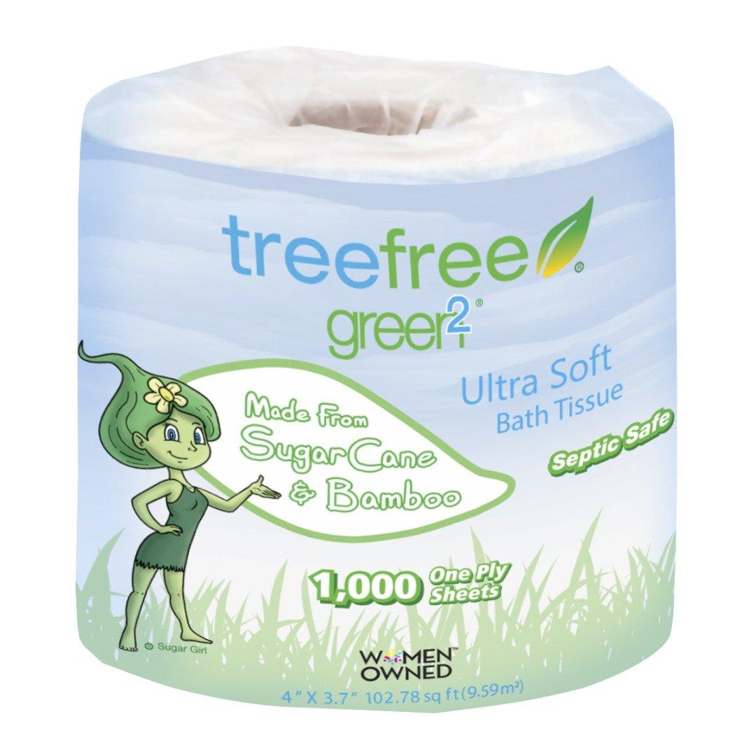 Green2 100% Tree Free 1000-Sheet 1-Ply Bathroom Tissue, 96 Count