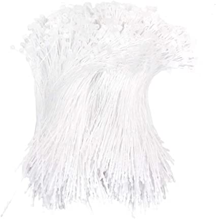 Confezione da 1000 pezzi di ferma etichette in plastica bianca da 12,7/cm chiusura a scatto con fermaglio di sicurezza Mmbox