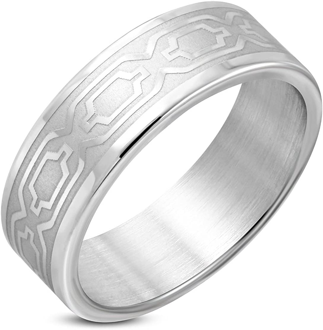 Stainless Steel Matte Finished Geometric Oval Link Flat Band Ring