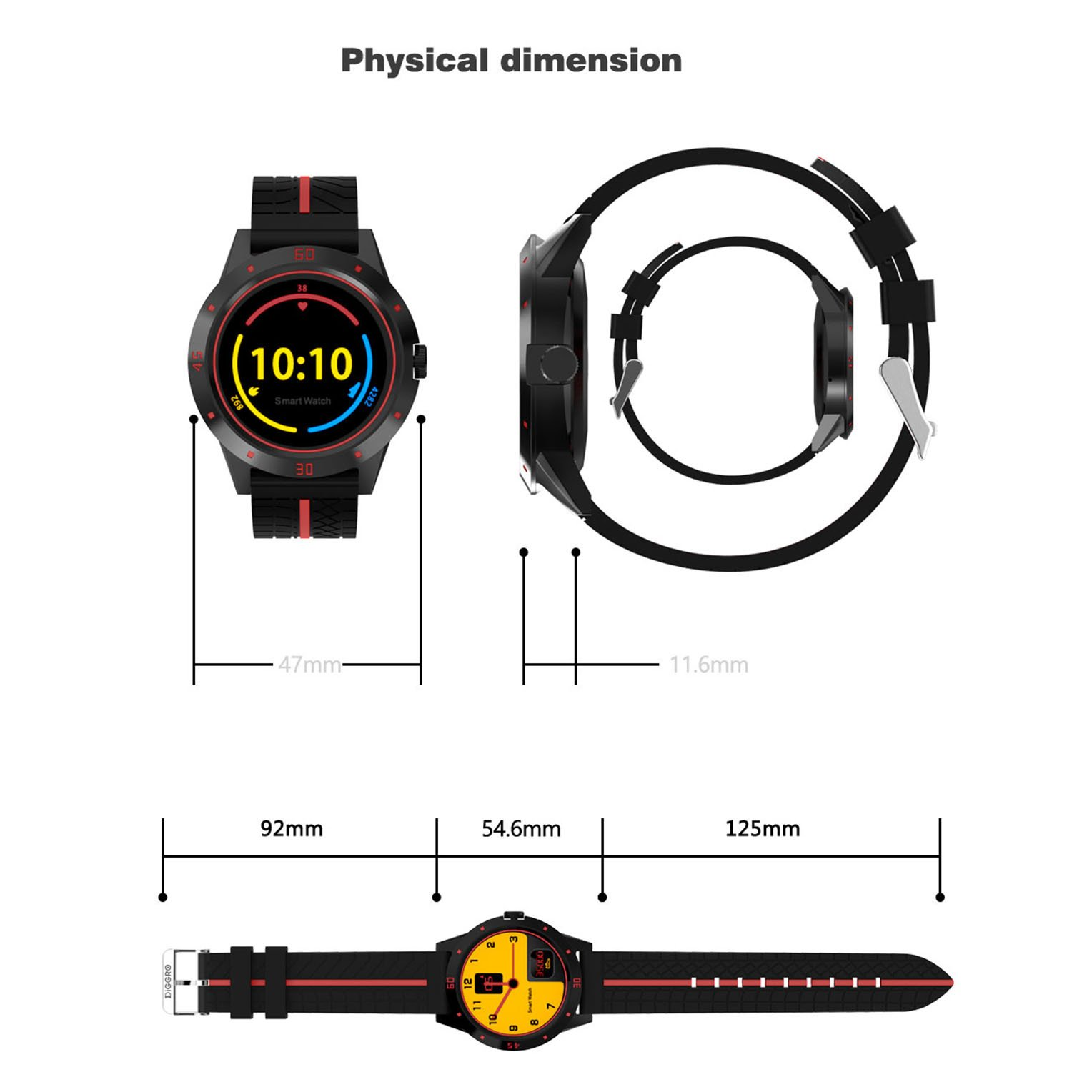 Diggro DI02 Bluetooth Smart Watch MTK2502C 128MB+64MB Microphone Speaker Siri Support Heart Rate Monitor Sport Pedometer Sedentary Reminder Sleeping Monitor Two-way Anti-Lost for Android&iOS