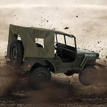 Nannday 【𝐒𝐞𝐦𝐚𝐧𝐚 𝐒𝐚𝐧𝐭𝐚】 Camión de Control Remoto, Escala 1/10 2.4GHz RC 4WD Vehículo de Escalada Militar para vehículos con Cable de Carga USB, Regalos ...
