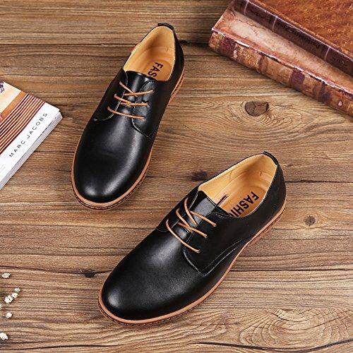 Ligero zapatos Zapatos Suave Comodidad Encajes Durable de formales cuero CUSTOME Oxfords Plano Ocio Negro Los Hombre qOEwCWS7