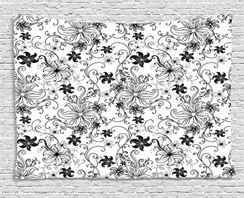 Ambesonne Floral Tapestry, Flowers Leaves Twirled Swirls Buds Ethnic Nature Romantic Design Artwork Print, Wall Hanging for Bedroom Living Room Dorm, 60 W X 40 L Inches, Black and White (Floral White Swirls)