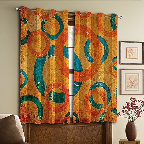 Custom design curtains/Vintage Lace Window Curtain/Grommet Top Blackout Curtains/Thermal Insulated Curtain For Bedroom And Kitchen-Set of 2 Panels(Fractal Interlace Circles on Grunge Backdrop) - Interlace Panel
