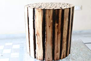 My oniline woodenbazaar Wooden Coffee Table/Round Stool for Living Room and Home Garden