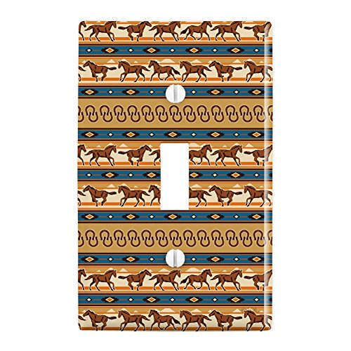 Graphics and More Southwest Running Horses and Horseshoes Plastic Wall Decor Toggle Light Switch Plate -