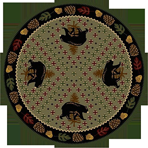 KENSINGTON ROW LAKE AND LODGE COLLECTION AREA RUGS - BEAR COUNTRY RUG - 8' ROUND RUG - GREEN - LODGE DECOR