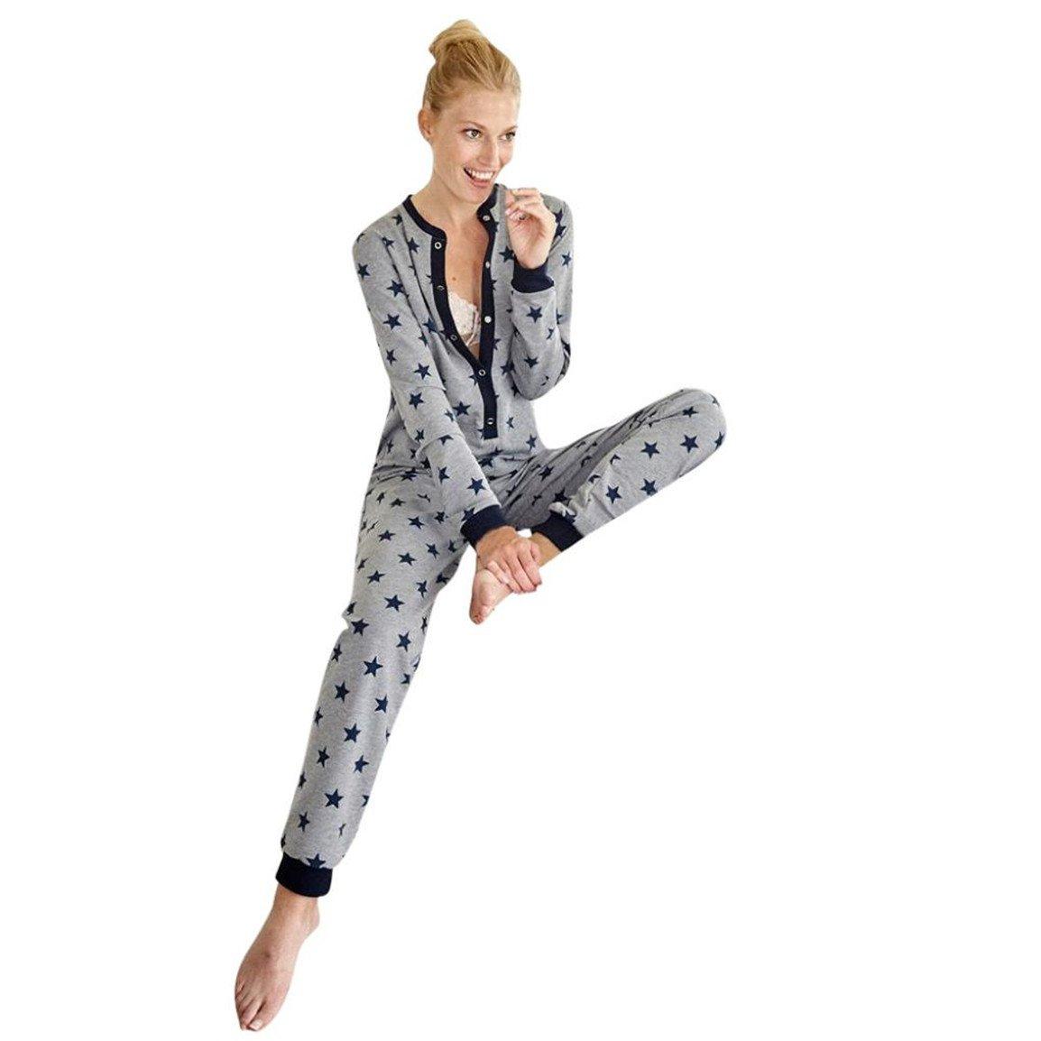 bellelove, las mujeres de manga larga Jumpsuit, pijamas impresas par Star Ladies ropa de noche de familia, o cuello botón Loisirs ropa de noche en Vrac para ...