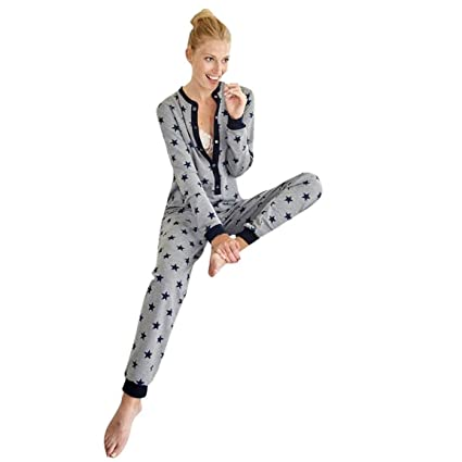 bellelove, las mujeres de manga larga Jumpsuit, pijamas impresas par Star Ladies ropa de