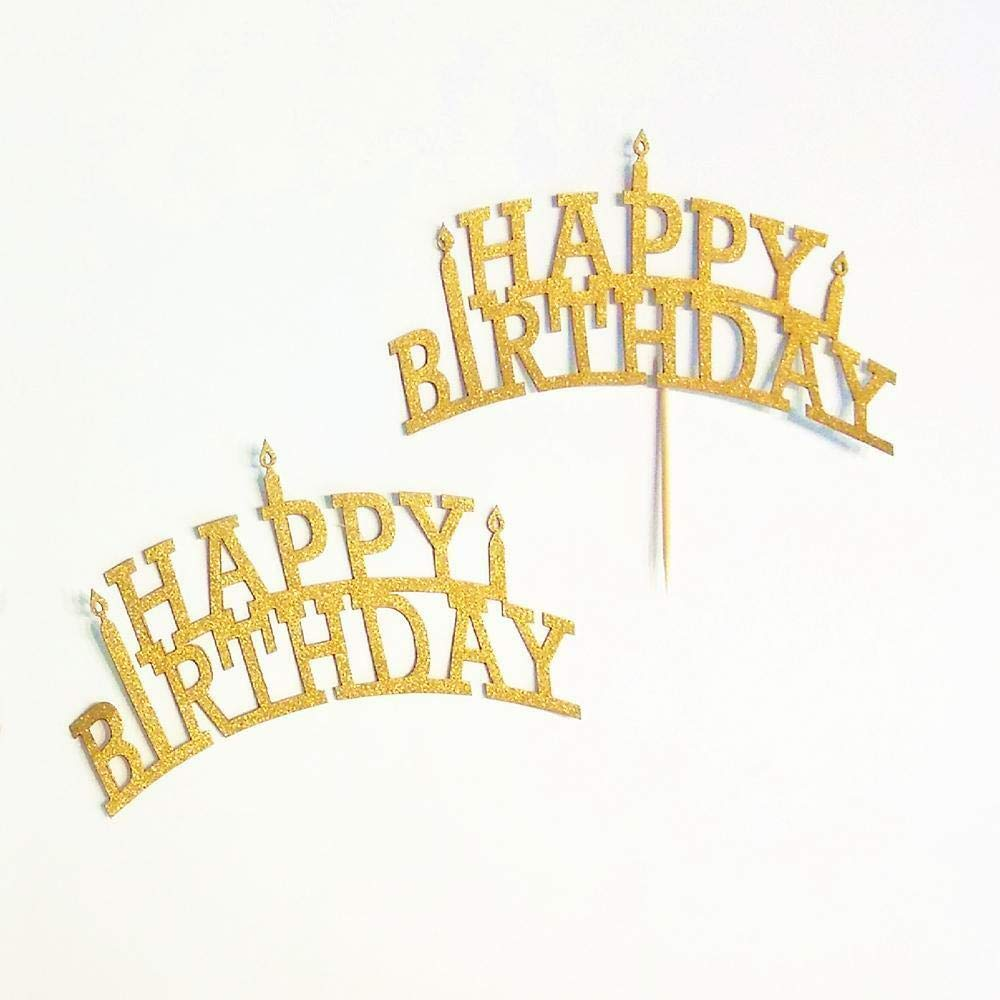 BROSCO 10x 20Pcs Gold Glitter Happy Birthday Cupcake Cake Toppers Pick Party Supplies by Brosco (Image #2)