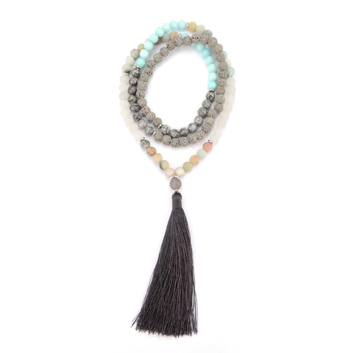 M&B Expressions Grey Lavastone, Jasper and Amazonite Mala Yoga Necklace 8-10mm with108 Beads for Meditation and Healing