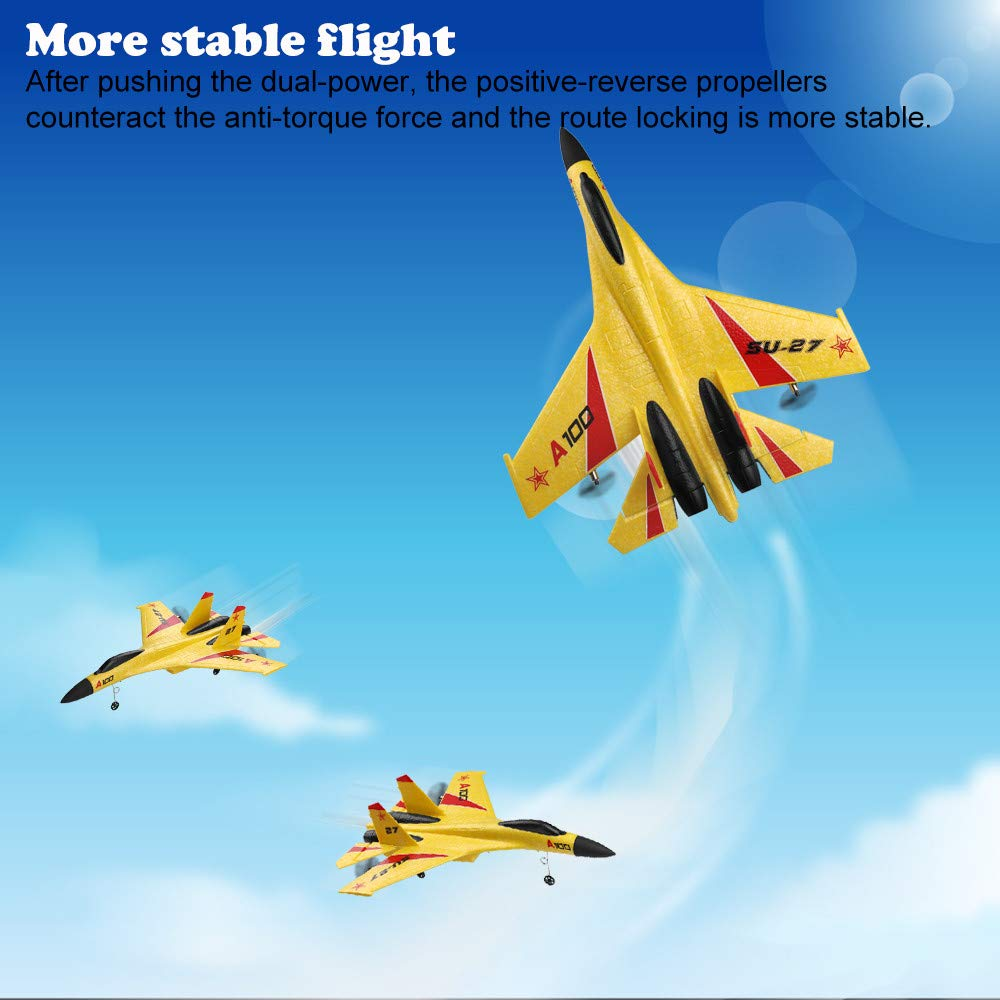 Wotryit WLtoys A100 3 Channel Remote Control Airplane, A100 SU-27 Mode 2.4 GHZ Vertical Take Off Land Delta Wing RC Flying Aircraft Toys RC Glider Indoors & Outdoors_Small Remote by Wotryit (Image #2)