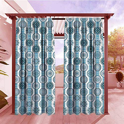 Curtains Rod Pocket Two Panels Decorative Plaid Art Artistic Paisley Floral Medallion Decor Style Geometric Art Prints Room Darkening, Noise Reducing W84x72L Fabric Blue Teal and - Medallion Pinecone