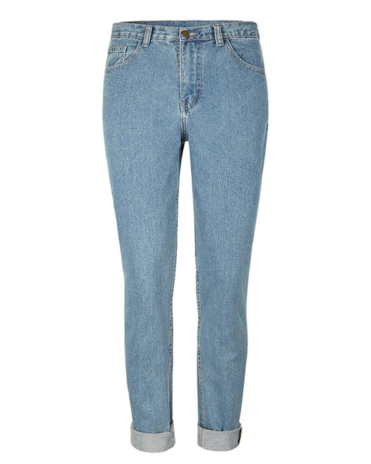 Ladies Vintage Boyfriend Demim Blue Baggy Frayed Turn Up Jeans:  Amazon.co.uk: Clothing