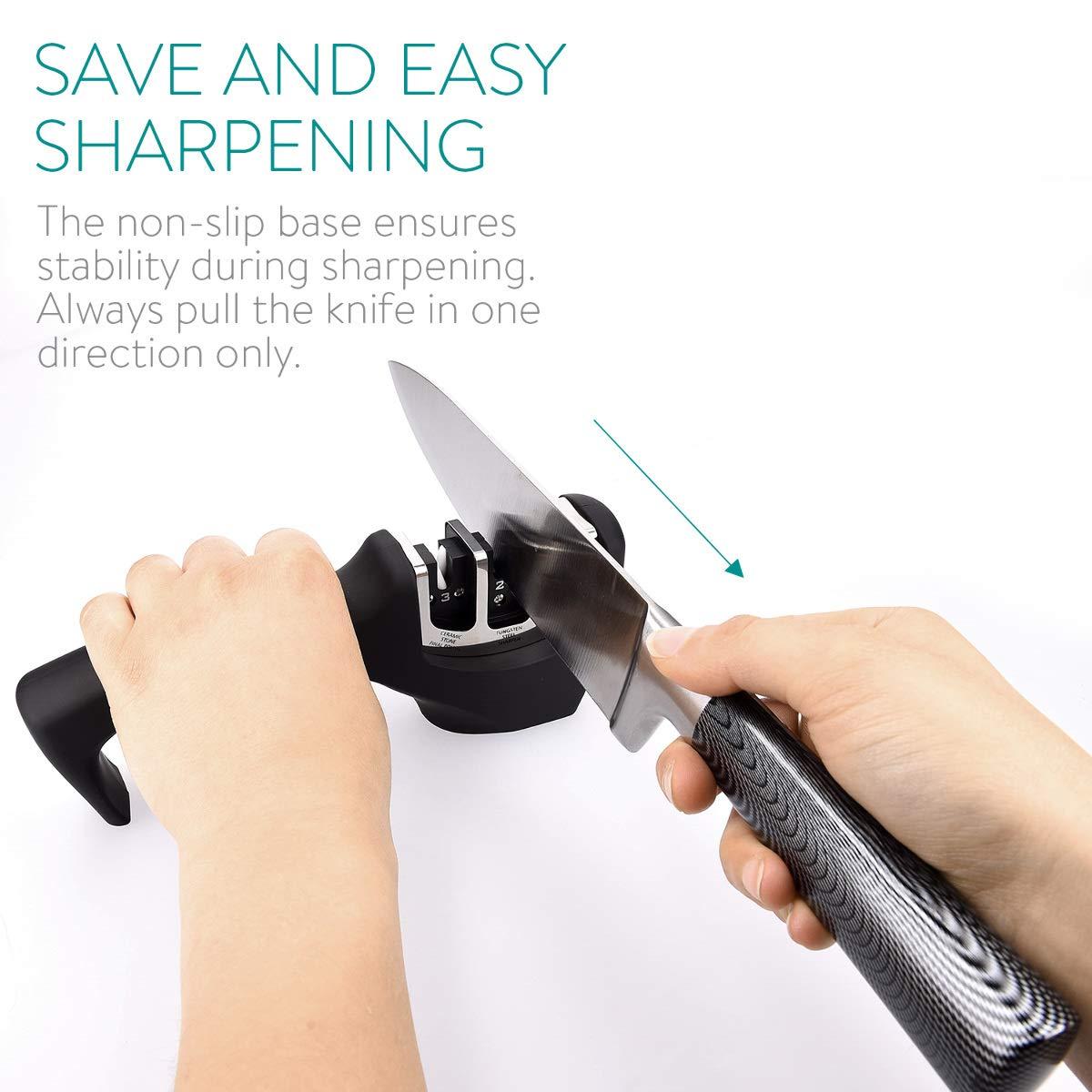 Compra Navaris Afilador de cuchillos de 3 etapas - Afilador ...