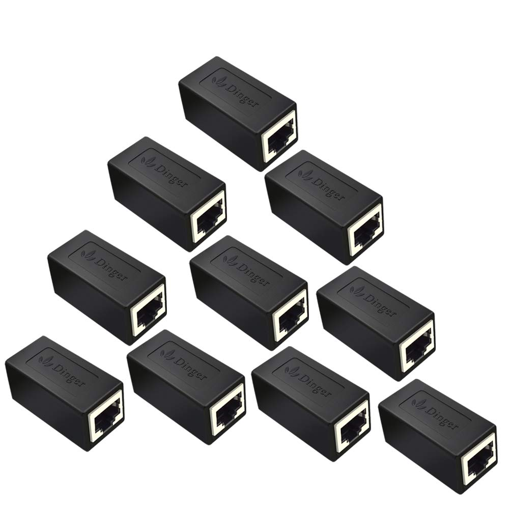 RJ45 Coupler in-Line Coupler Cat7 Cat6 Cat5 Cat5e Network Cable Extender Adapter, Support 100BASE-TX (10 Pack) by Dingsun