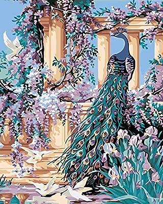 Pack de 3 cepillos 24 pinturas, turquesa pavo real de Roma Coliseo, pintura al óleo de principiante de bricolaje pintura por número kits de arte pintura Canva Juego de pintura y pincel