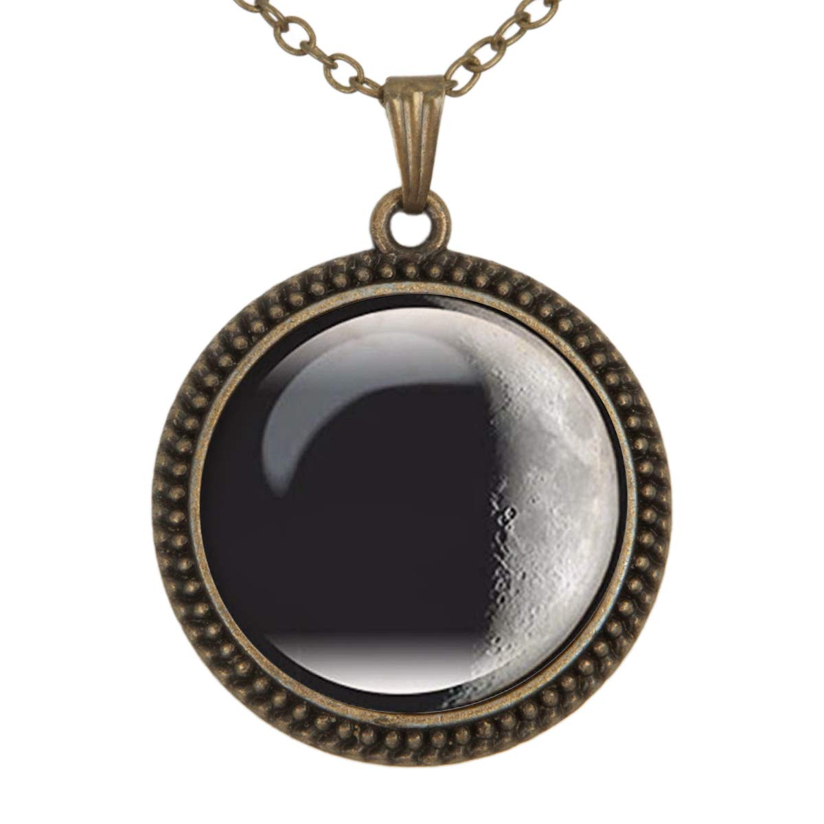 Family Decor Black Moon Art Pendant Necklace Cabochon Glass Vintage Bronze Chain Necklace Jewelry Handmade
