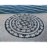 Handicrunch Indian White Elephant Mandala Roundie Beach Throw Tapestry, Hippi...