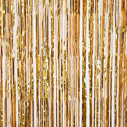 ZagGit Set of 2 Metallic Gold Foil Fringe Party Decoration Door Curtains, 3 x 8 (Masquerade Party Theme)