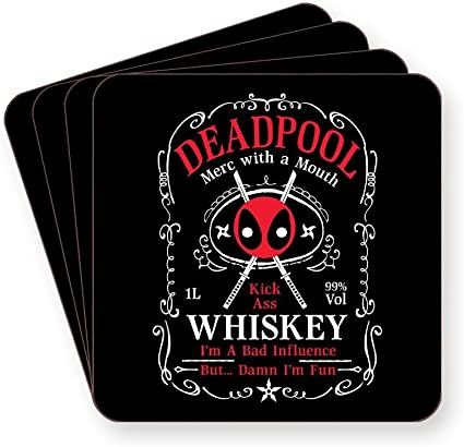 Deadpool - Posavasos de whisky Merch with A Mouth - Vendido individualmente o como un paquete de 4 - cuadrado o redondo, SQUARE Pack of 4: Amazon.es: Hogar