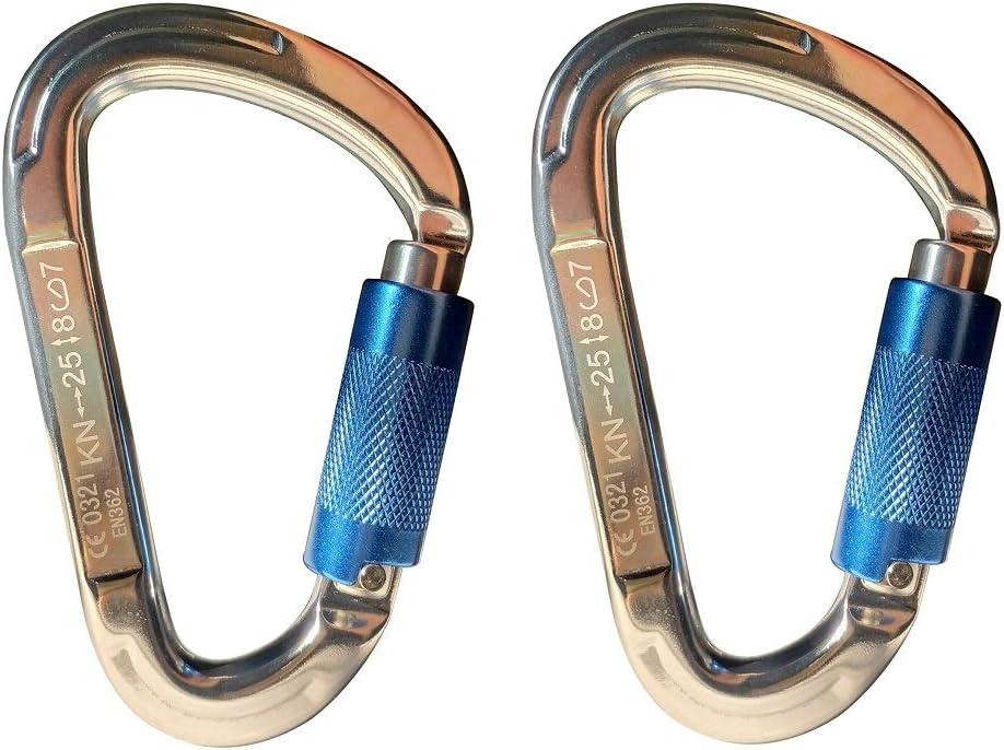 SHENGBOSS 2pcs Auto Locking Carabiners 25KN Carabiner Buckle D-Shaped Aluminum Carabiner