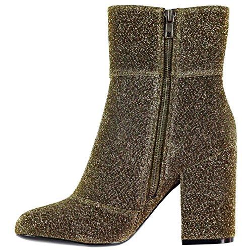 Steve Madden Damen Goldee Stiefel Absatz Stiefelette Ankle Boots Gold 4.5