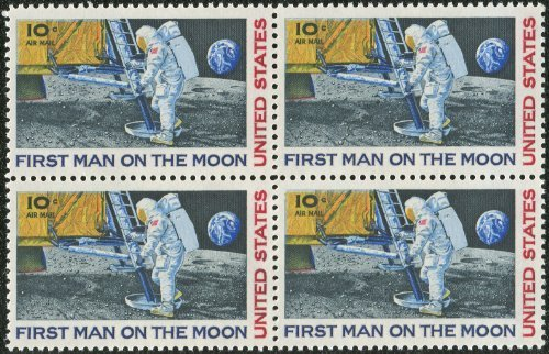 FIRST MAN ON THE MOON ~ NEIL ARMSTRONG ~ SPACE ~ MOON LANDING ~ AIRMAIL #C076 Block of 4 by 10¢ US Postage Stamps