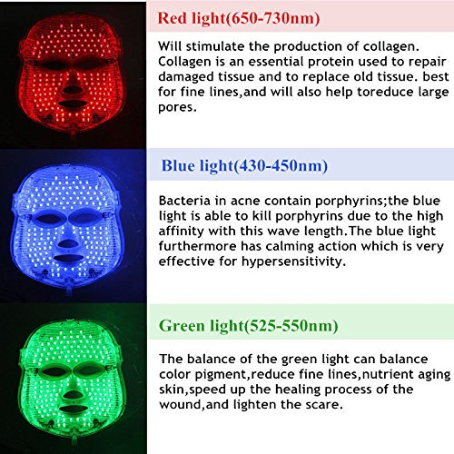 3D Phototherapy Trichromatic Color LED Mask Instrument Cold Light LED electronic Mask Instrument Professional Beauty Rejuvenation Instrument Therapy Facial Skin Care Mask Device (3 Color, White) by Yue live (Image #5)