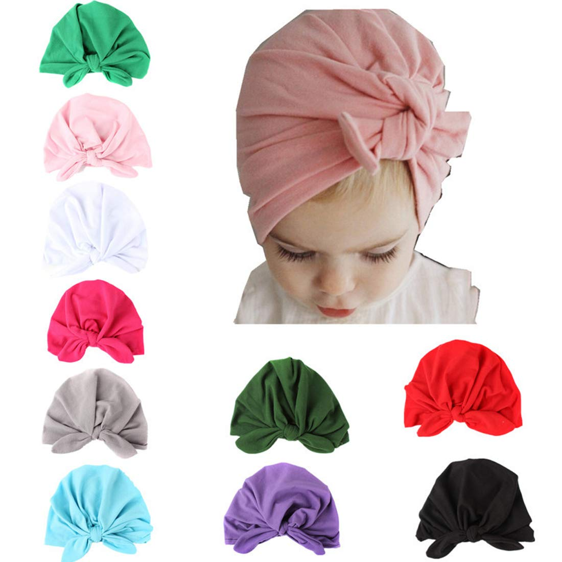 Simoda Adorable Baby Girls Beanie Hats Cotton Nursery Cap Turban Knot Hospital Hat