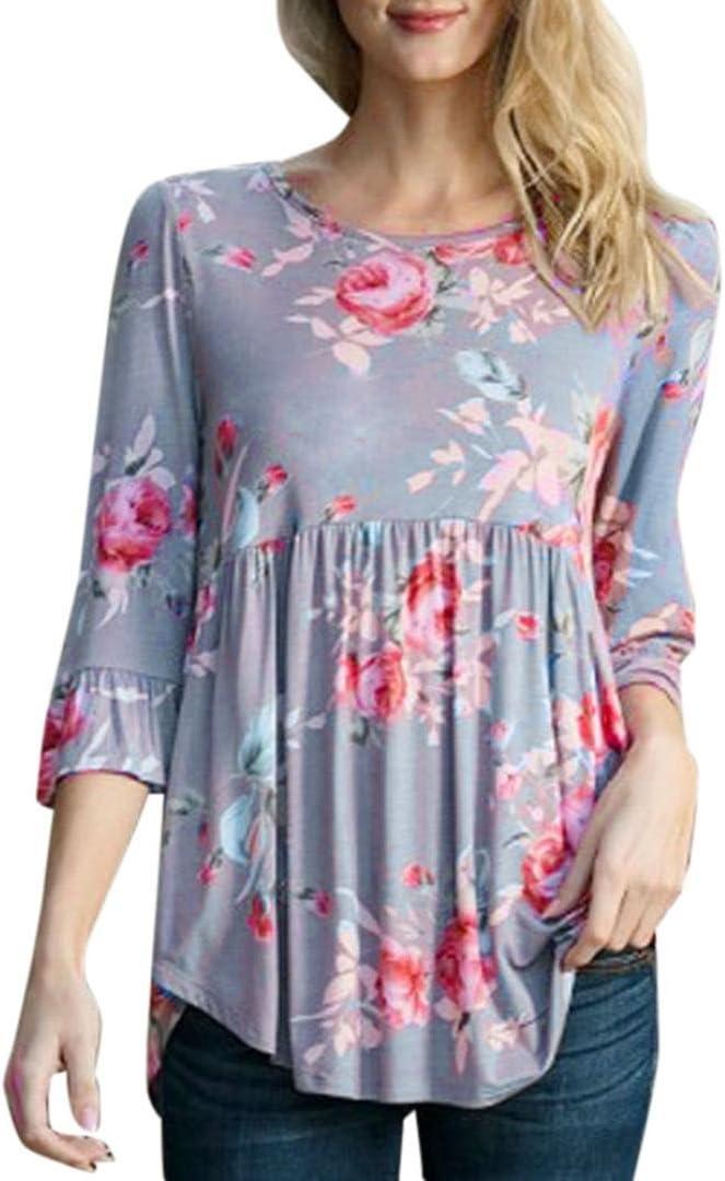 gbsell moda mujer flores manga larga túnica Plus Size Tops blusa ...