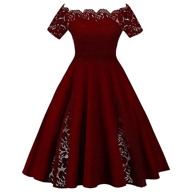 451235b28 Mujer Vestido de Fiesta Corto Vestidos de Encaje Floral Elegante Vintage  Falda Bodas Cóctel Talla Grande