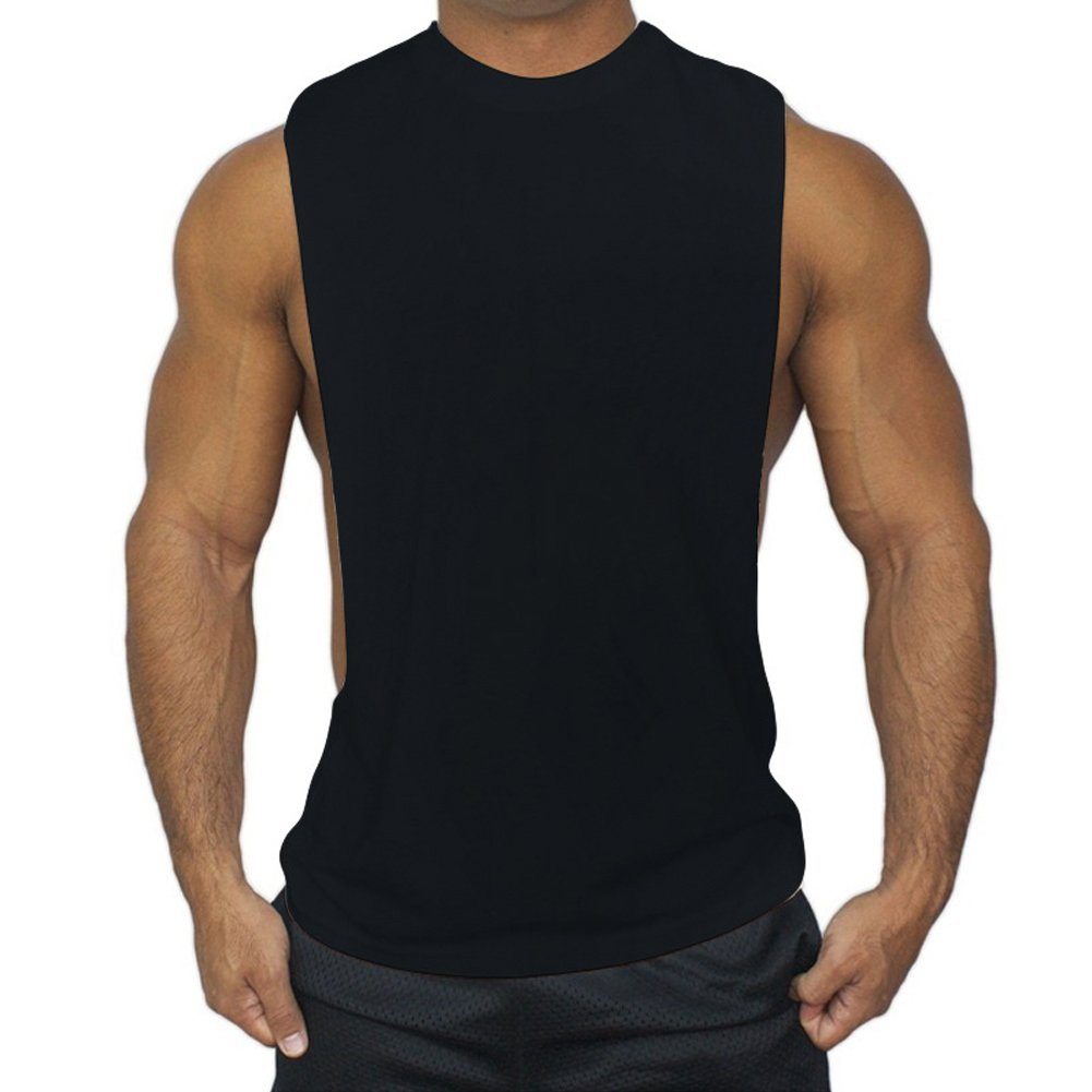 ZUEVI Men's Muscular Cut Open Sides Bodybuilding Tank Top(Black-M-S)