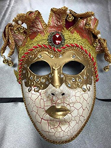 Venetian Female Mask Full Face Jester Mask Mardi Gras Venetian Halloween Ball Masquerade Mask - (Couples Jester Halloween Costumes)
