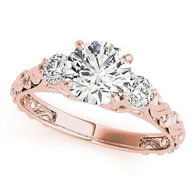 1d1cffc1f9e Amazon.com  0.5 Ct. Halo Round Cut Classic Three-Stone Diamond Engagement  Ring For Women